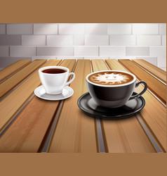Espresso and cappuccino coffee composition vector