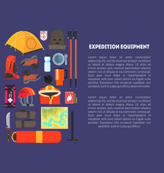 expedition equipment banner template with place vector image