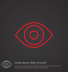 eye outline symbol red on dark background logo vector image