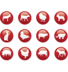 farm animals buttons vector image