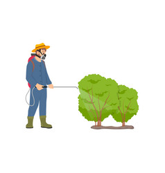 Farmer spraying bushes icon vector