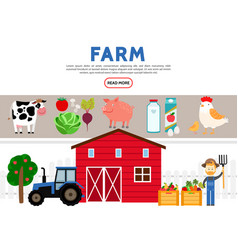 flat farming icons collection vector image
