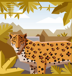Flat geometric jungle background with jaguar vector