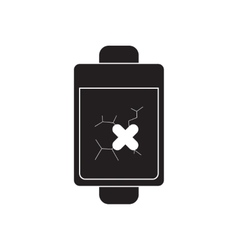 Flat icon in black and white mobile phone battery vector image