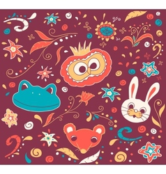 Floral and animal doodles drawing in vector image