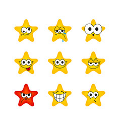 funny cartoon star character emotions set vector image