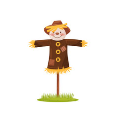 funny scarecrow of straw with smiling face vector image