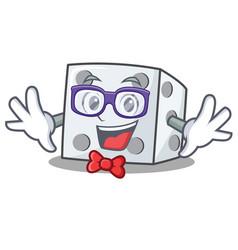 Geek dice character cartoon style vector