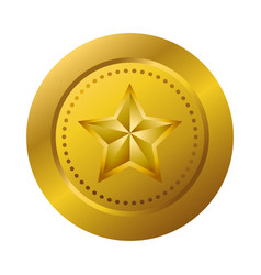 gold medal with star vector image