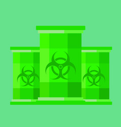 Green barrels with toxic waste vector
