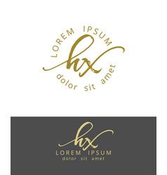 h x handdrawn brush monogram calligraphy logo vector image