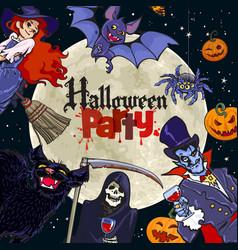 Halloween cartoon characters on full moon vector