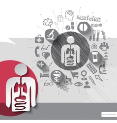 Hand drawn alimentary system icons with icons vector