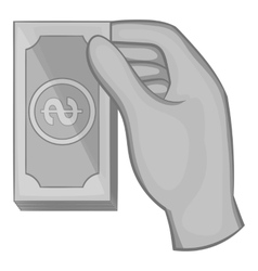 Hand holding a wad of money icon monochrome style vector