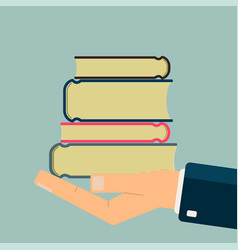 hand holding books get books for read science vector image