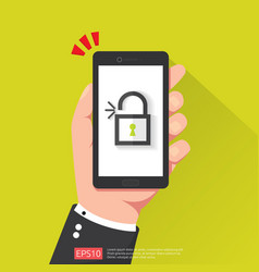 hand holding phone with open unlock padlock icon vector image