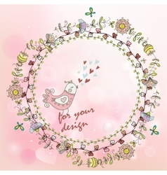 Hand painted background with floral wreath and vector