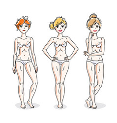 happy cute young women standing in white vector image