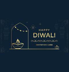 Happy diwali festival a greeting card design vector