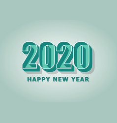 Happy new year 2020 with green retro style vector