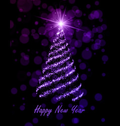 Happy new year greeting card with shiny christmas vector