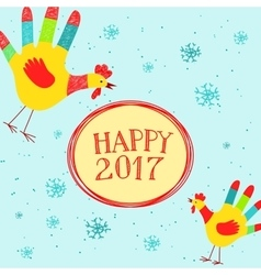 Happy New year message with hand printed roosters vector