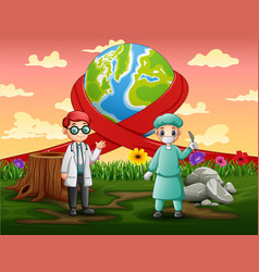 Happy world day with two doctors standing vector