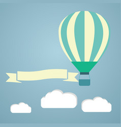 Hot air balloon in the sky greeting vector