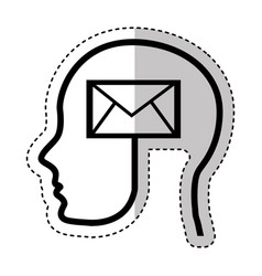 human profile with envelope vector image