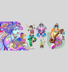 Indian gods set - shiva goddess sarasvati ganesh vector