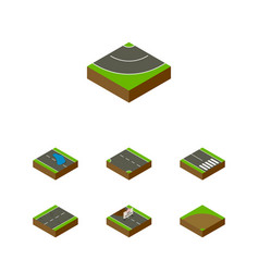 Isometric road set of repairs sand pedestrian vector