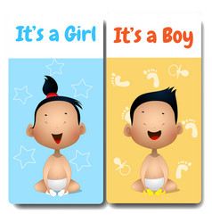 Its a boy and its a girl cards vector
