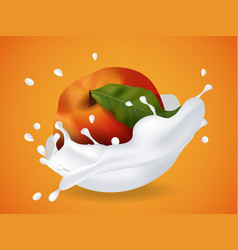 juicy sweet peach in milk splash vector image