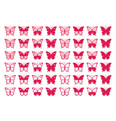 large set nice red butterflies vector image