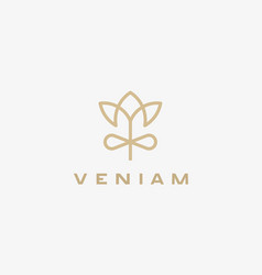 Linear flower gift logo design elegant crown vector
