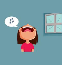 Little girl singing breaking a window cartoon vector