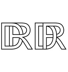 logo rd dr icon sign two interlaced letters r d vector image