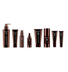 luxury brown 8 pcs cosmetics bottle set vector image