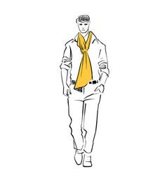 Male model runway walk vector
