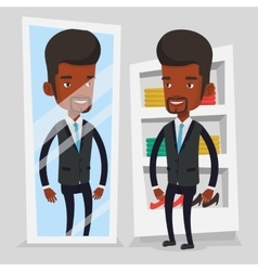 Man trying on clothes in dressing room vector