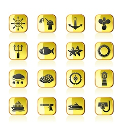 Marine and sea icons vector image vector image