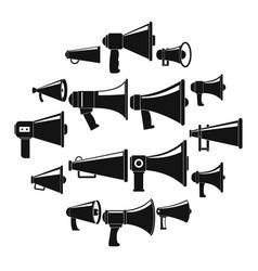 Megaphone loud speaker icons set simple style vector