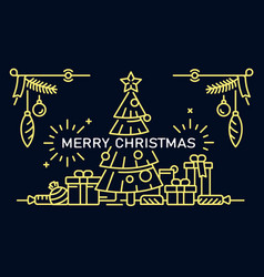 merry christmas banner outline style vector image