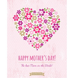 Mothers Day card with heart of spring flowers vector