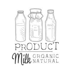 natural fresh milk product promo sign in sketch vector image