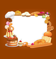 Pastry and bakery food frame border vector