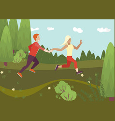 people running in forest cheerful woman blonde vector image