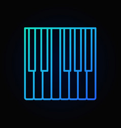 piano keys outline concept blue icon or vector image