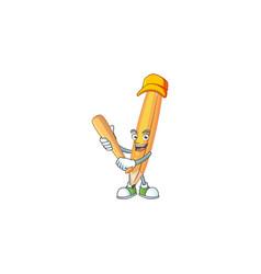 Playing baseball cartoon pencil in cute vector