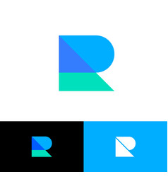 R logo abstract monogram blue azure transparent vector